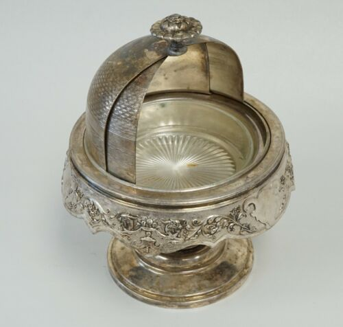 Covered Dish Butter Caviar Jelly Silverplate Quadruple Victorian Floral Scroll