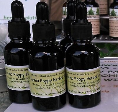 California Poppy Herbal Tincture (sleep, pain, migraines) by Aeternus Herbal Tin ()
