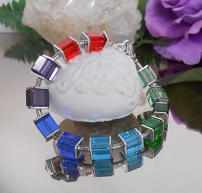 Design Glas Würfel Armband  Regenbogen Bunt - Rot Blau Grün Orange Würfelarmband ()