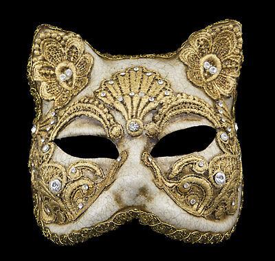 Mask from Venice Face Cat Gatto Paper Mache Macrame Golden 1751 VPM3