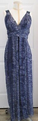 COSTUME NATIONAL Blue Print Silk Crepe Maxi Dress with Soft Pleating - Size 42 - Costume With Blue Dress