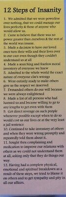 SOBRIETY BOOK MARK - 12 STEPS OF INSANITY- RECOVERY