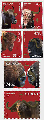 Stamps Curacao 2021. - Chinese New Year - Year of the Ox - Set