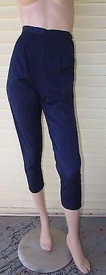 Vtg 50s Womans HIGH WAIST Side Waist Zip Cropped Rockabilly Blue Jeans Pants S