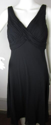 Womens Chaps Ralph Lauren Black V Neck Dress Size 6 Work R1