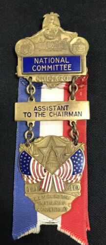 1940 Democratic National Convention Committee Roosevelt Badge Ribbon Pin JW073