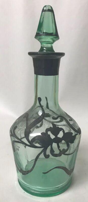 Vtg Deco Vaseline Uranium Green Glass Decanter Bottle Sterling Silver Overlay