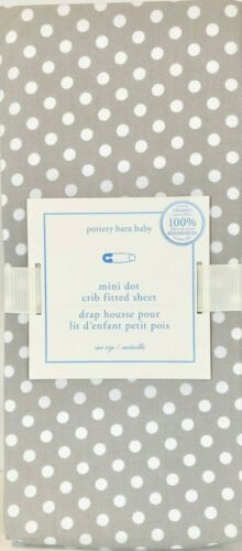 NEW Pottery Barn Kids Gray/White Mini Dot Crib Fitted Sheet, Unisex