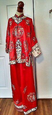 Antique Vintage Chinese Forbidden Stitch Embroidered Silk Lounge Wear Pyjamas