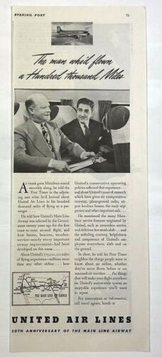 1940 Advertising United Airlines 20th Anniversary Flew 100,000 Miles Print Ad
