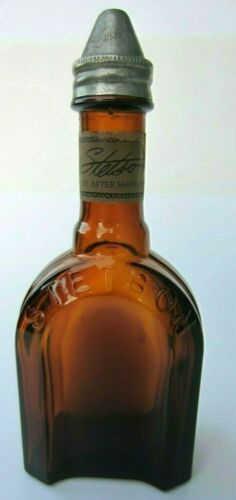 Rare Vintage Brown Stetson After Shave Lotion Empty Bottle Original Metal Cap