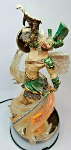 Rare Arch Angel War Statue Figure Ascending Feat. Dragon Skulls w/Spin LED Stand