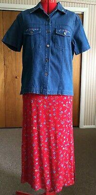 Erika Studio 2 piece red & blue print dress and embroidered denim jacket 2 Piece Blue Dress