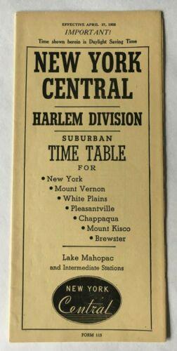 Vintage 1958 New York Central Harlem Division Railroad RR Suburban Timetable