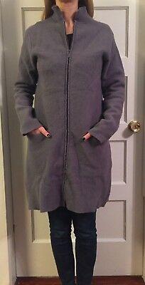 - Eileen Fisher Felted Boiled Wool Coat Medium 2 way Zip up Purple Jacket Pockets