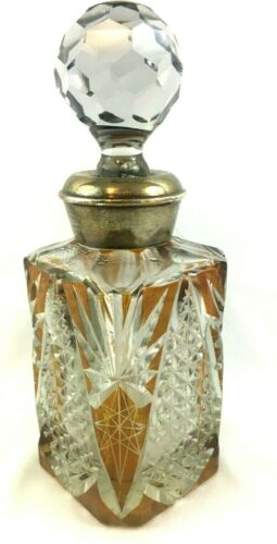 Antique Bohemian Amber Cut to Clear Square Crystal Decanter Sterling Silver Rim