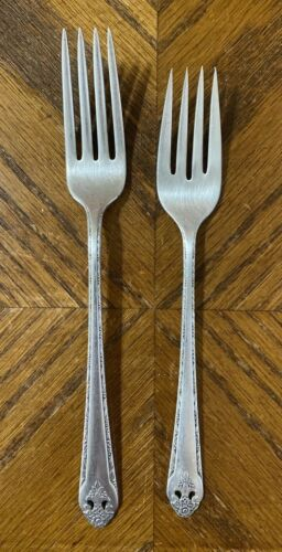 Holmes & Edwards LOVELY LADY Silverplate Inlaid Dinner & Salad Forks Lot of 2