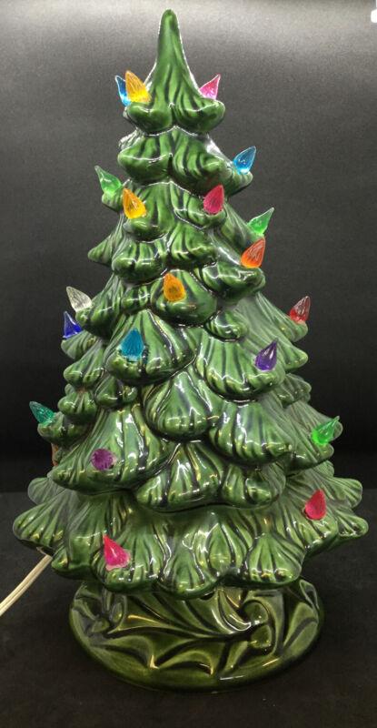 "VINTAGE  Ceramic Christmas Tree Large 13"" Green Holland Mold."