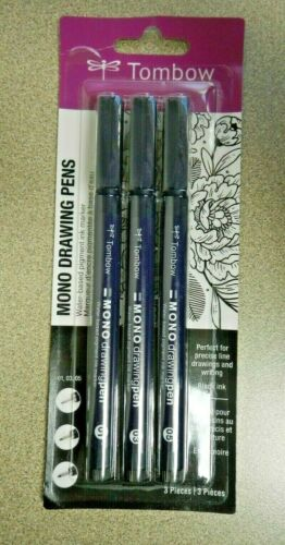Tombow Mono Drawing Pens Black Ink 3 Pack Water-based Permanent Ink Markers NEW
