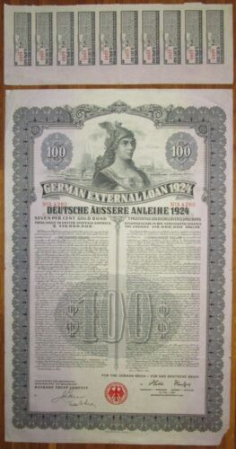 GERMANY 7% Dawes Gold Bond $100 1924 UNCANCELLED +coupons SCRIPOTRUST certified