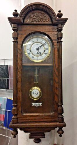 VINTAGE HOWARD MILLER 612-462 OAK WALL 8 DAY CLOCK W/ WESTMINSTER CHIME KEY WIND