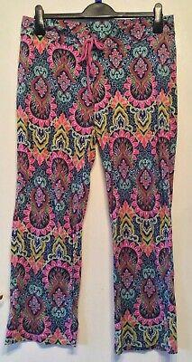 "Isaac Mizrahi new york floral trousers size M approx 12 leg 28"""