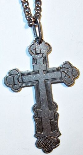 "ANTIQUE Sterling RUSSIAN ORTHODOX Crucifix HANDMADE CROSS on 72"" STERLING CHAIN!"