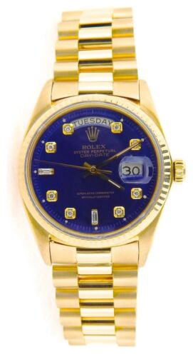 Mens Rolex Day-date President Solid 18k Yellow Gold Watch Blue Diamond Dial 1803
