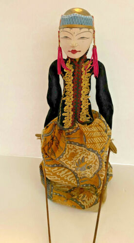Vintage Indonesian Balinese Doll Wooden Puppet Marionette Cultural Hand Carved