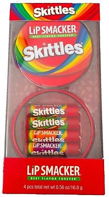 Skittles 4 Piece Lip Smackers Best flavors with Collectible Tin Fruity lip