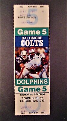 1983 Miami Dolphins Baltimore Colts DAN MARINO 3rd Start 2nd Win ROOKIE Ticket