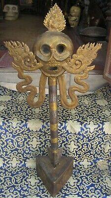 Antique Tibetean Iron Tantrik Phurba Khatvanga With Stand