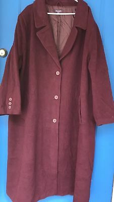 NEW Womens Roaman's Plum Purple Color Wool Blend Coat 16W Romans Roamans (Romans Coats)