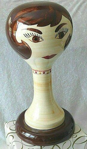 "MCM STANGL Ceramic Mannequin Head Hat Wig Stand Brunette 15"" Limited 60"