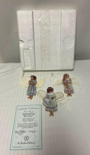 3 Vintage Bradford Angels Devoted Guardian Angels Heart Reverent Joy Ornaments