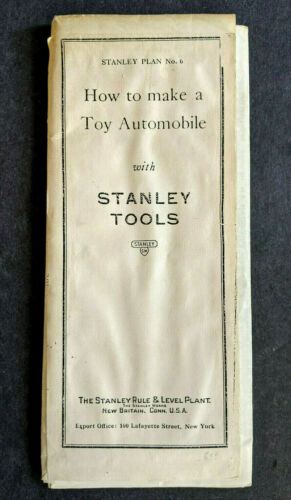 1926 Stanley Tools How To Make A Toy Automobile Large Folding Plans Super Scarce