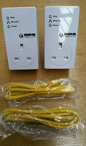 2 x BT Simpler Networks 200mbps Mini Passthrough Powerline Adapters Homeplug