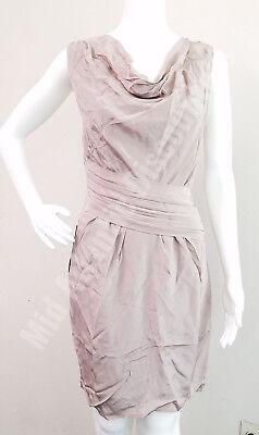 New BeBe ROBBIE 100% Silk Cowl Neck Tank Slimming Dress, Beige/Cream/Tan, Medium