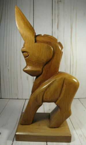 """WOODEN, HAND CARVED DONKEY, FOLK ART, 9 3/4"""" TALL x 3"""" WIDE, QUALITY WOOD"""