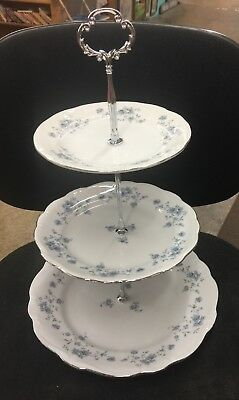 Blue Garland 3 TIER HOSTESS TRAY Johann Haviland BAVARIA GERMANY Perfect