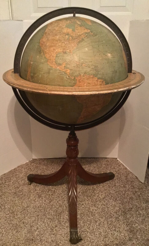 "ANTIQUE WEBER COSTELLO 18"" FLOOR GLOBE ON CARVED BASE W/ BRONZE LIONS FEET RARE"