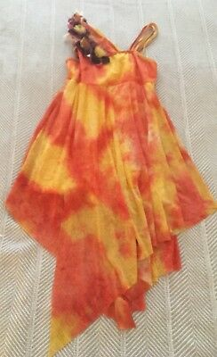 Size SA Revolution Dancewear Orange Yellow Floral Costume Fire Fairy Cosplay](Fire Fairy Costumes)
