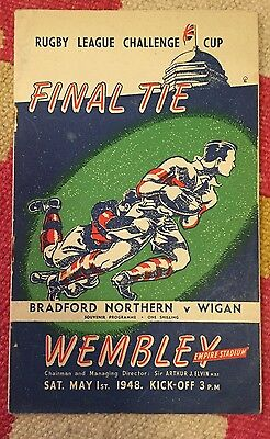 1948 Rugby League Cup Final:- Bradford Northern v Wigan. VGC!!