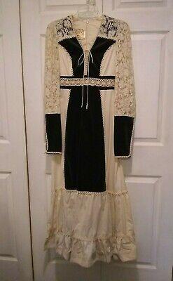 Vintage Gunne Sax Jessica Lace Boho Maxi Wedding Velvet Dress Victorian Style Jessica Lace Wedding Dress