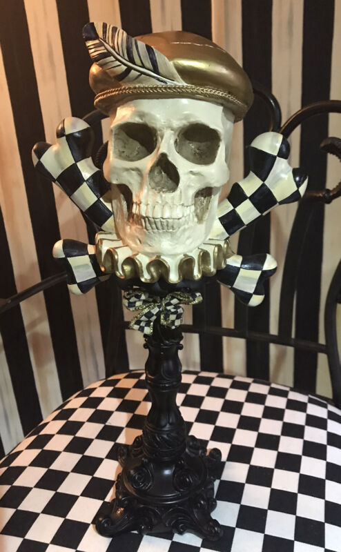 MacKenzie Childs Edwardian Skull & Crossbones Statue VGUC