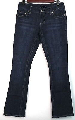- Maurices Womens Jeans Size 3 4 Regular Dark Wash Distressed Bootcut Full Length