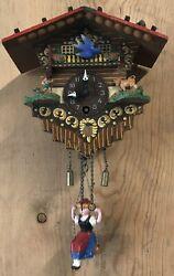Vintage Windup German Mini Chalet Clock, Swinging Girl on Spring TESTED, WORKS!