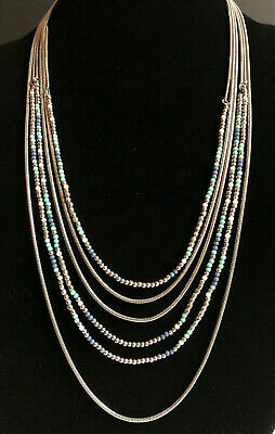Premier Designs Necklace Silver Multi Strand Seed Beads Blue White Snake Chain ()