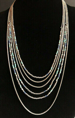 Premier Designs Necklace Silver Multi Strand Seed Beads Blue White Snake Chain