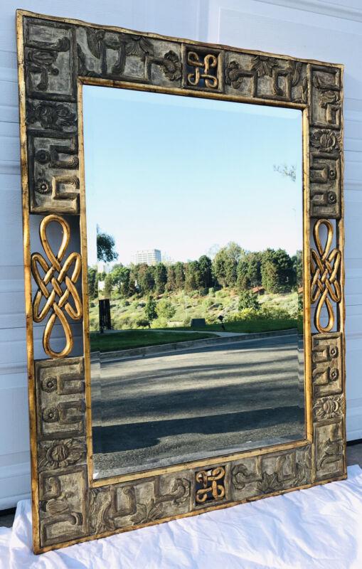Vtg Dauphine Harrison & Gil Large Ornate Gilt Scroll Carved Beveled Wall Mirror